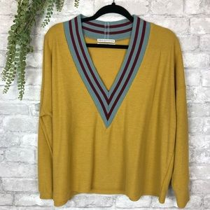 Urban Outfitters // Mustard V-Neck Waffle Knit